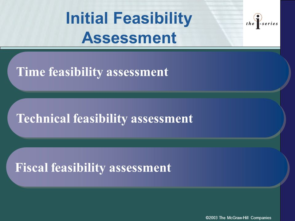 ©2003 The McGraw-Hill Companies Initial Feasibility Assessment Time feasibility assessment Technical feasibility assessment Fiscal feasibility assessm