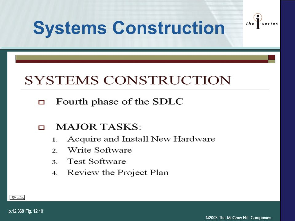 ©2003 The McGraw-Hill Companies Systems Construction p.12.368 Fig. 12.10
