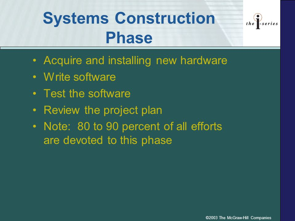 ©2003 The McGraw-Hill Companies Systems Construction Phase Acquire and installing new hardware Write software Test the software Review the project pla