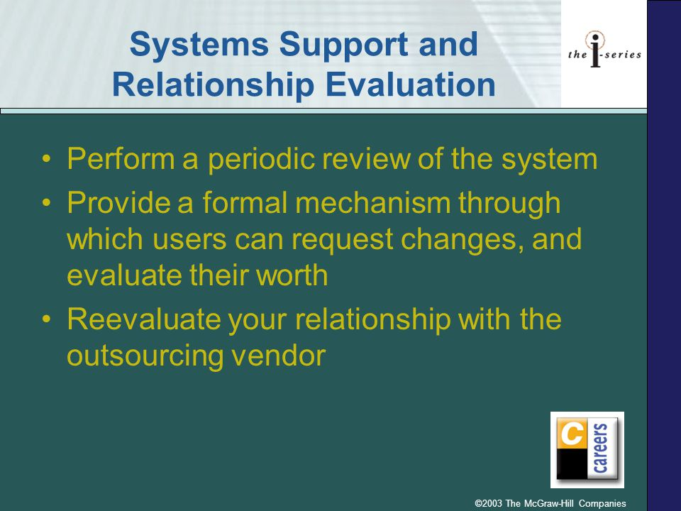 ©2003 The McGraw-Hill Companies Systems Support and Relationship Evaluation Perform a periodic review of the system Provide a formal mechanism through