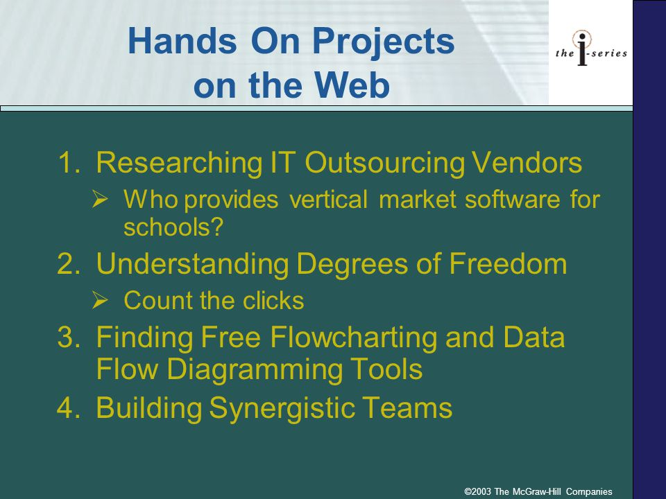 ©2003 The McGraw-Hill Companies Hands On Projects on the Web 1.Researching IT Outsourcing Vendors  Who provides vertical market software for schools?