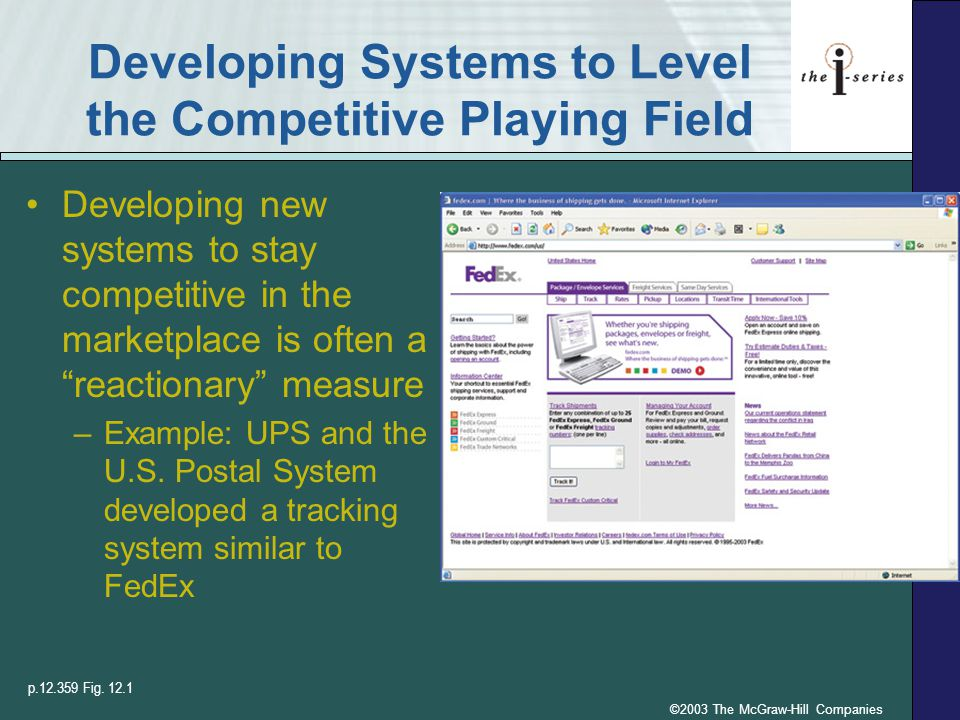 ©2003 The McGraw-Hill Companies Developing Systems to Level the Competitive Playing Field Developing new systems to stay competitive in the marketplac