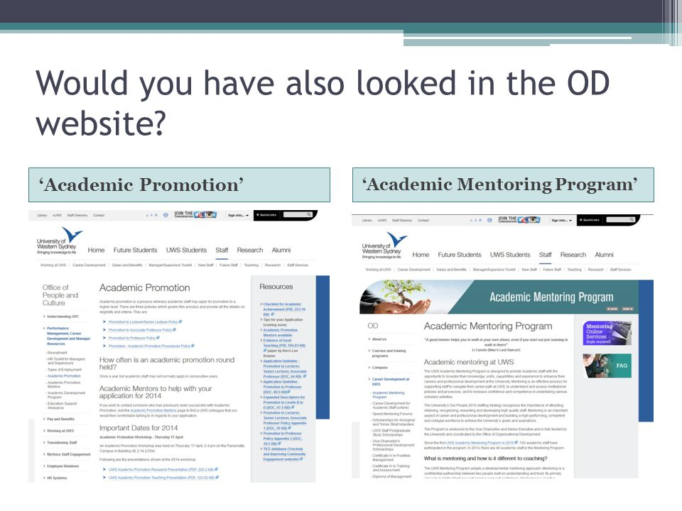 Would you have also looked in the OD website 'Academic Promotion' 'Academic Mentoring Program'
