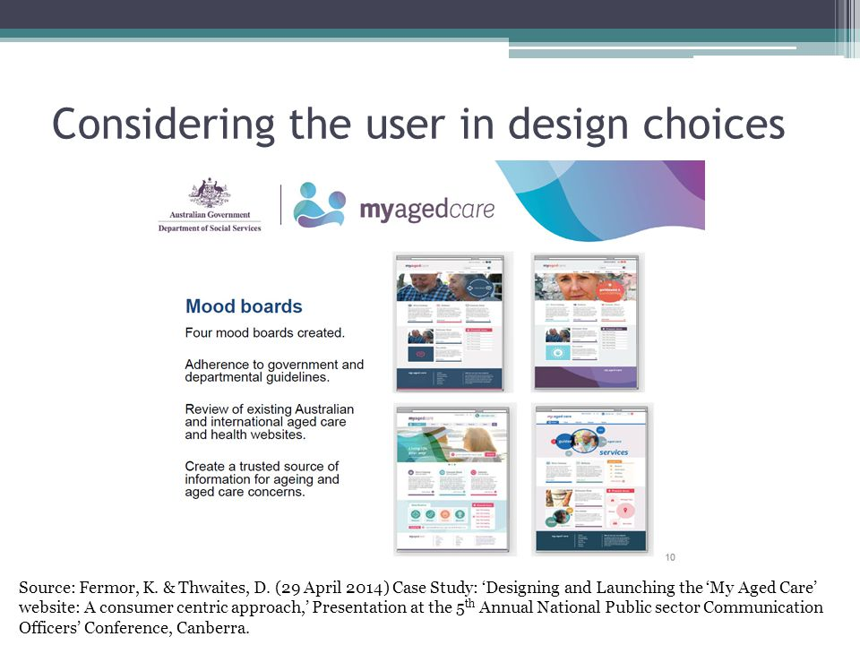 Considering the user in design choices Source: Fermor, K. & Thwaites, D. (29 April 2014) Case Study: 'Designing and Launching the 'My Aged Care' websi