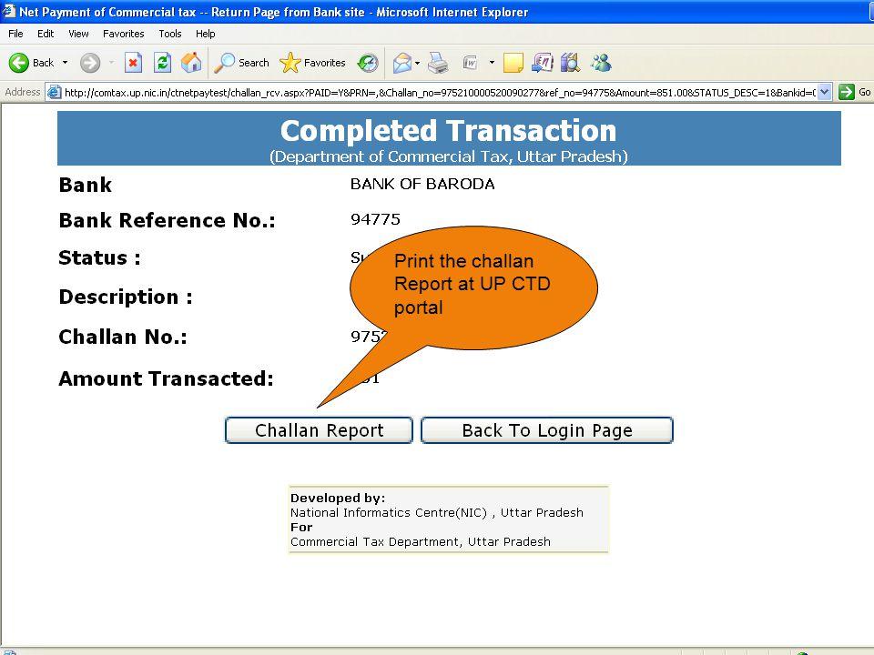 Print the challan Report at UP CTD portal