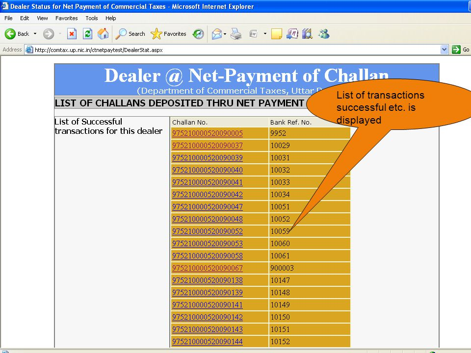 List of transactions successful etc. is displayed