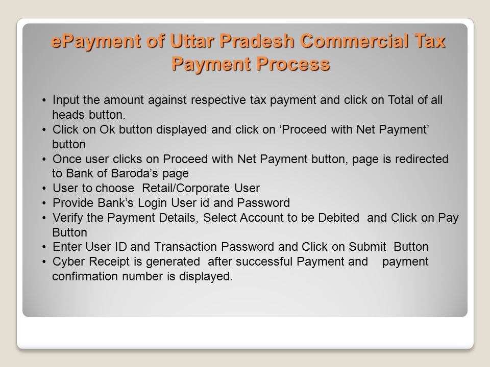 Input the amount against respective tax payment and click on Total of all heads button. Click on Ok button displayed and click on 'Proceed with Net Pa