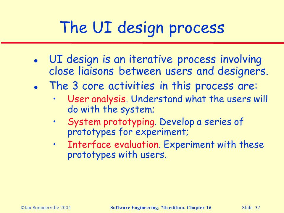 ©Ian Sommerville 2004Software Engineering, 7th edition. Chapter 16 Slide 32 The UI design process l UI design is an iterative process involving close