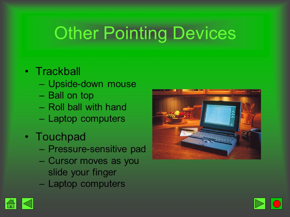 Pointing Devices Mouse Types –Mechanical –Optical –Wireless Features –Palm-sized –1 or 2 buttons –Wheel