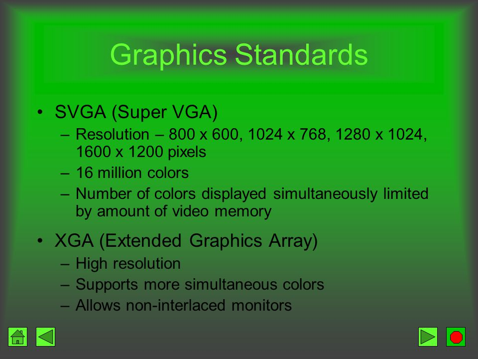 Graphics Standards PCs Monitor Graphics boards Software Help insure that the products work together