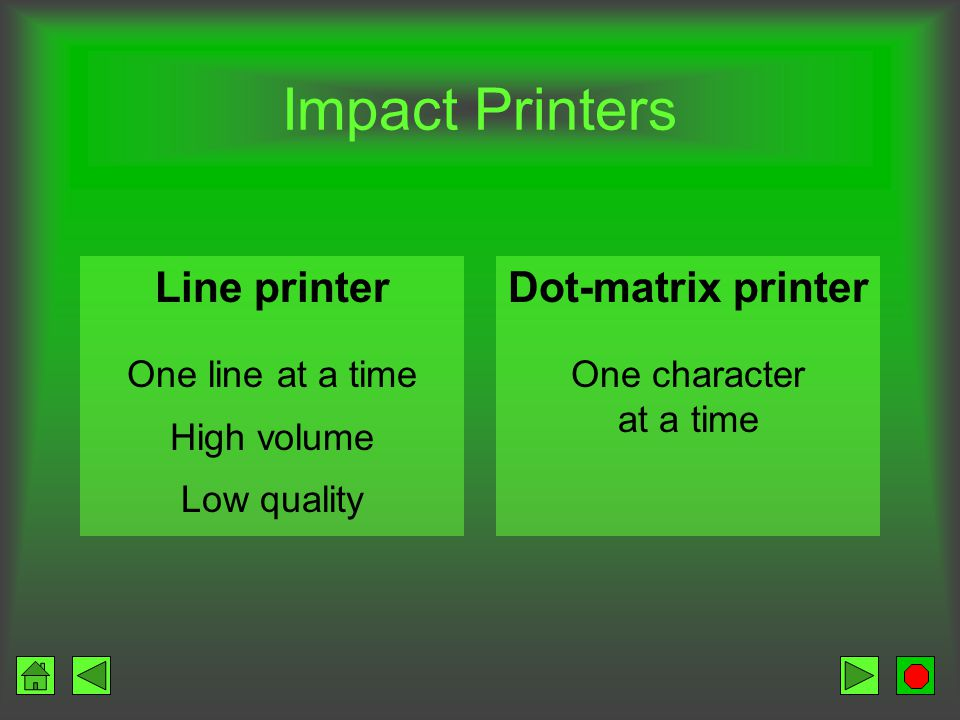 Printer Produces information on paper Orientation –Portrait –Landscape Methods of printing –Impact –Nonimpact