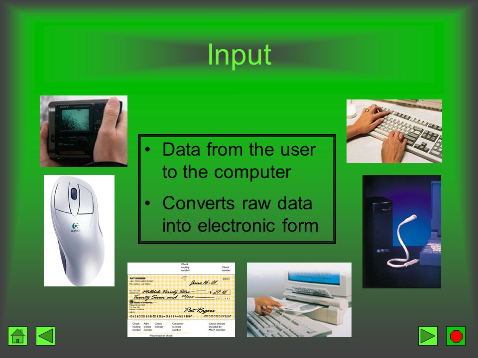 Input and Output Input Users submit input data Output Users get processed information