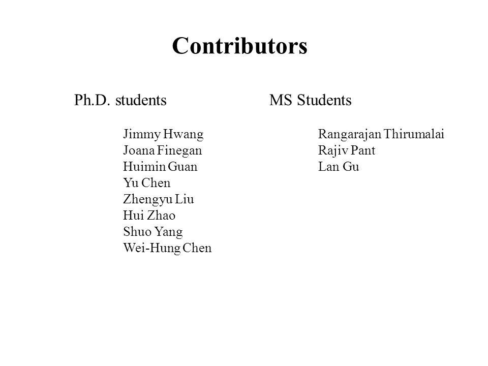 Contributors Ph.D. studentsMS Students Jimmy HwangRangarajan Thirumalai Joana FineganRajiv Pant Huimin GuanLan Gu Yu Chen Zhengyu Liu Hui Zhao Shuo Ya