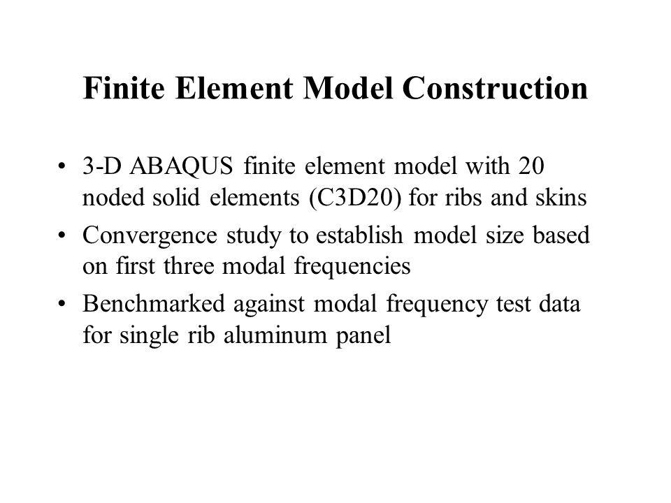 Finite Element Model Construction 3-D ABAQUS finite element model with 20 noded solid elements (C3D20) for ribs and skins Convergence study to establi