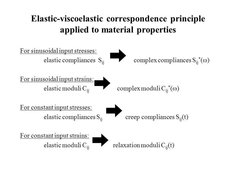 Elastic-viscoelastic correspondence principle applied to material properties For sinusoidal input stresses: elastic compliances S ij complex complianc