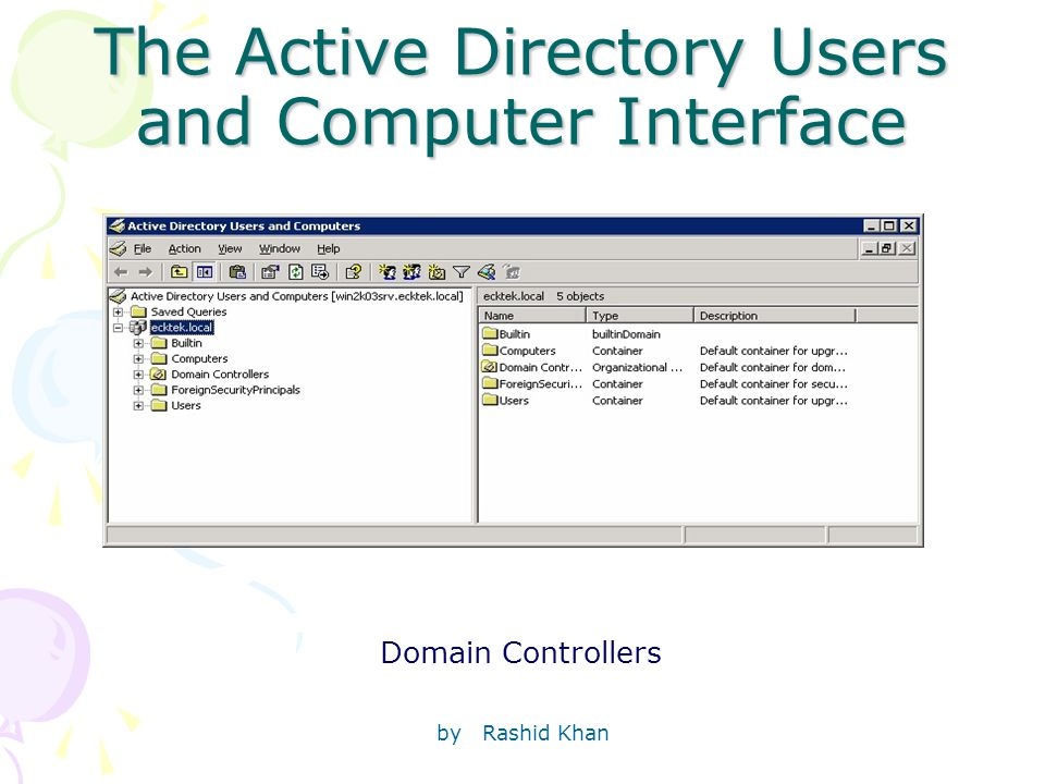 by Rashid Khan The Active Directory Users and Computer Interface Domain Controllers