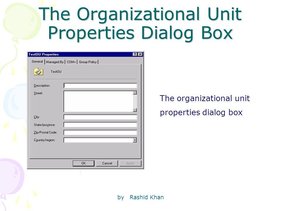 by Rashid Khan The Organizational Unit Properties Dialog Box The organizational unit properties dialog box