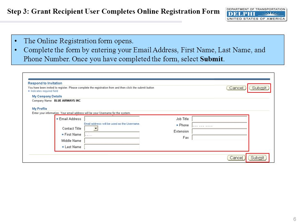 Step 4: Grant Recipient User Accesses the Proof of Identity PDF Form After completing the Online Registration form, return to the e-mail invitation.