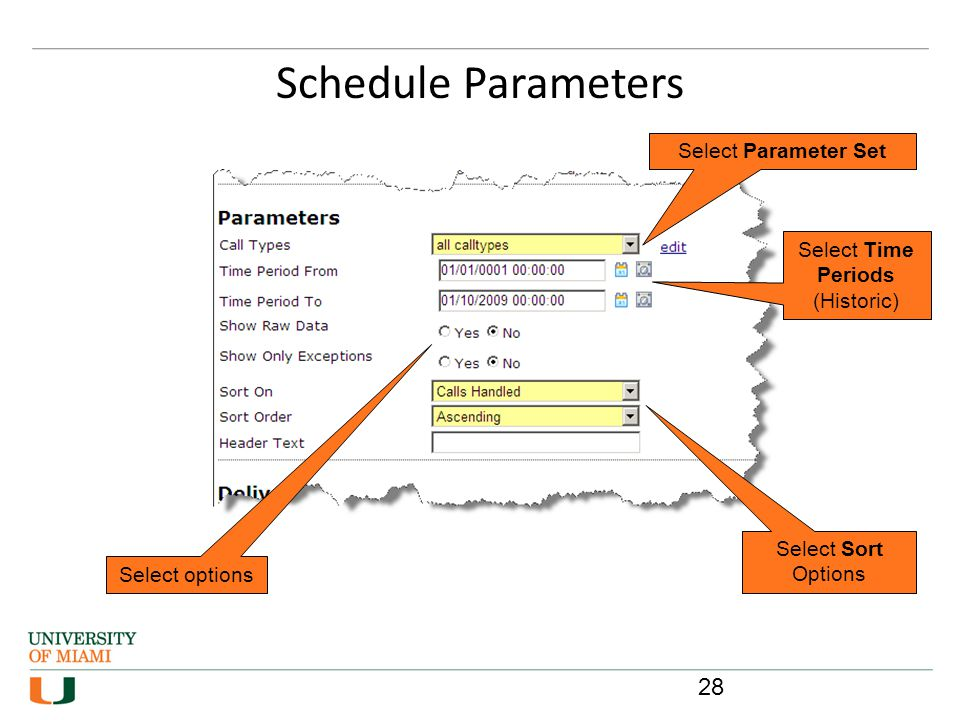 Schedule Parameters Select Parameter Set Select Time Periods (Historic) Select options Select Sort Options 28