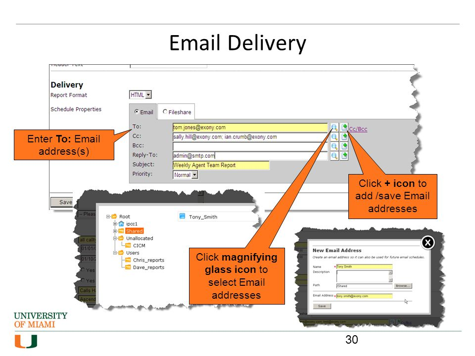 Email Delivery Click + icon to add /save Email addresses Click magnifying glass icon to select Email addresses Enter To: Email address(s) 30