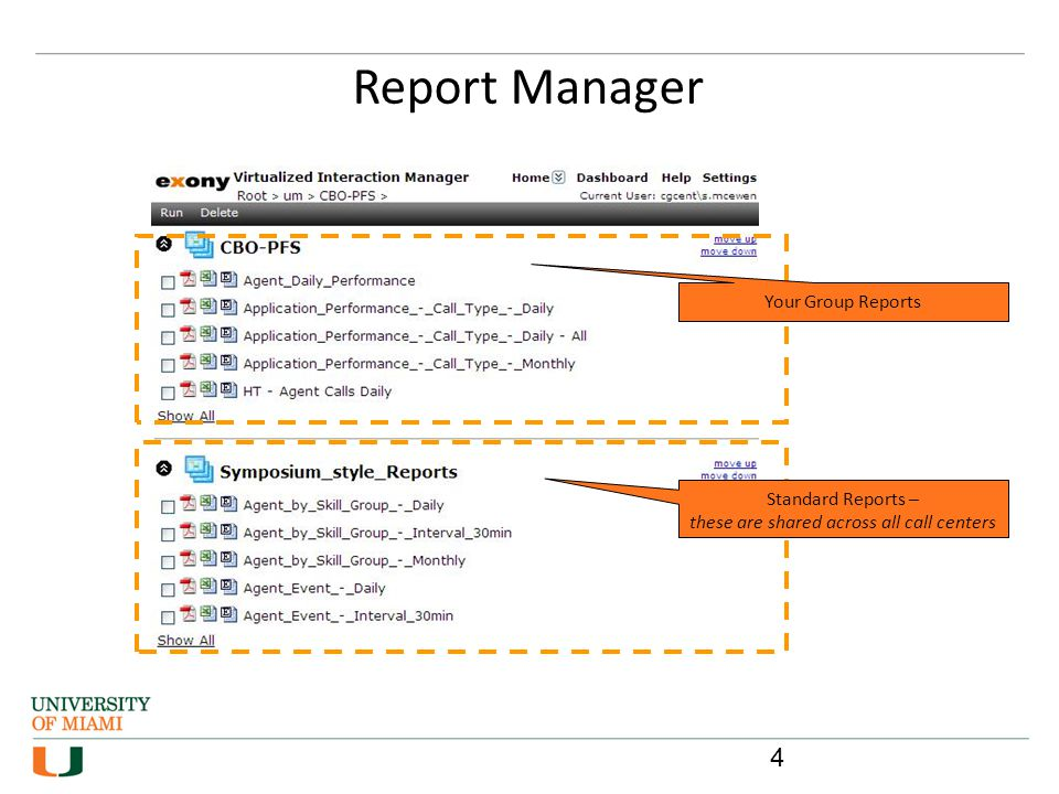 Reports can also be distributed in a variety of formats This is configured through the Schedule page Schedule Report & Distribution Users can schedule reports to be exported to a file share location or emailed at a specific time or regular interval, e.g.