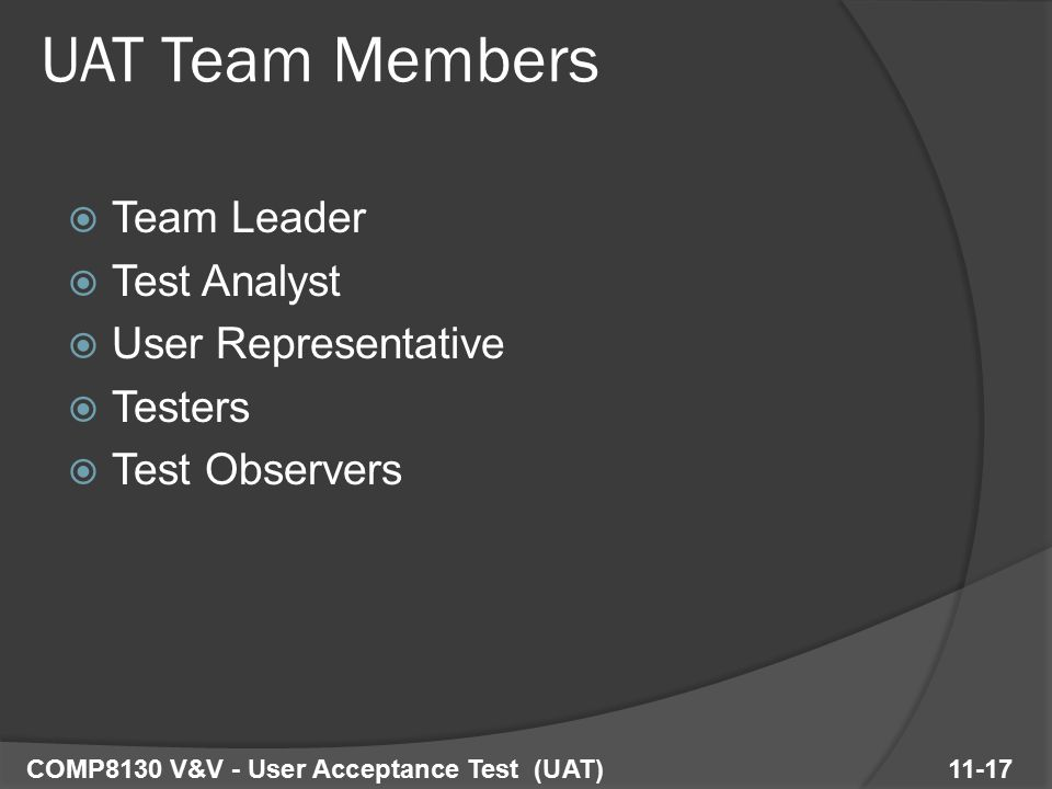 Team Leader  Test Analyst  User Representative  Testers  Test Observers COMP8130 V&V - User Acceptance Test (UAT) 11-17 UAT Team Members