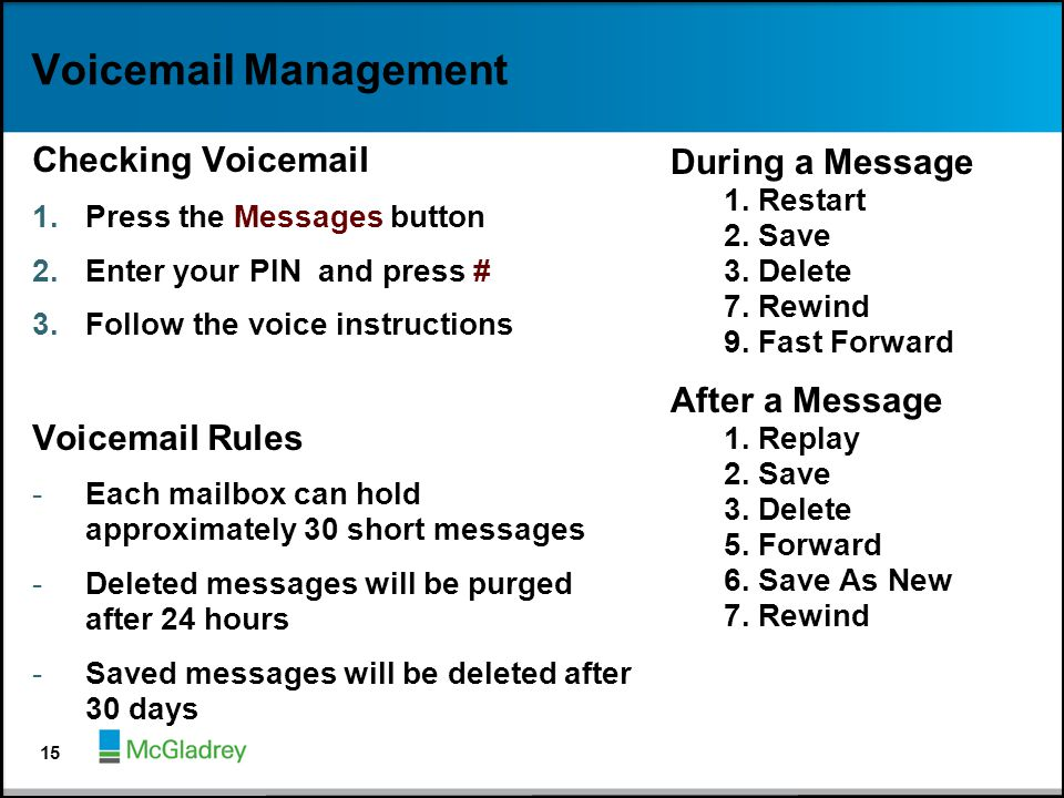 Voicemail Management Checking Voicemail 1.Press the Messages button 2.Enter your PIN and press # 3.Follow the voice instructions Voicemail Rules -Each