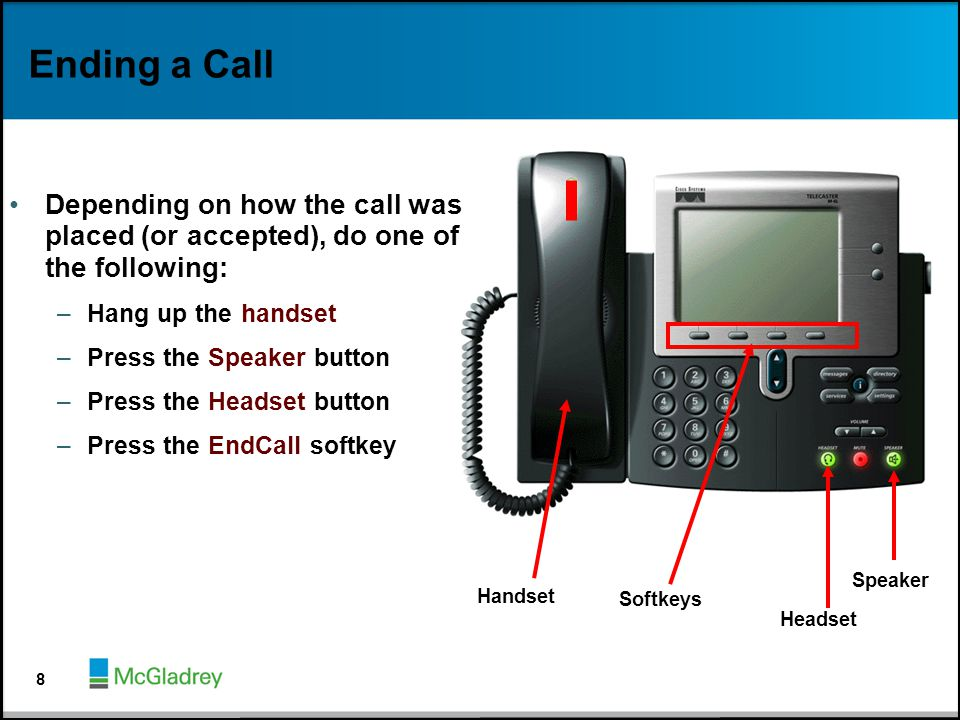 Ending a Call Depending on how the call was placed (or accepted), do one of the following: –Hang up the handset –Press the Speaker button –Press the H