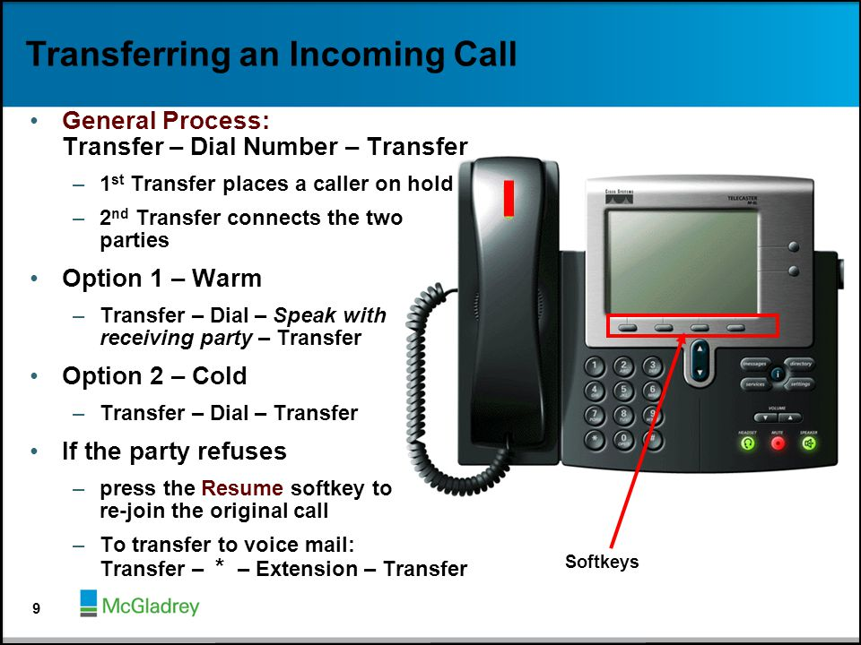 Transferring an Incoming Call General Process: Transfer – Dial Number – Transfer –1 st Transfer places a caller on hold –2 nd Transfer connects the tw