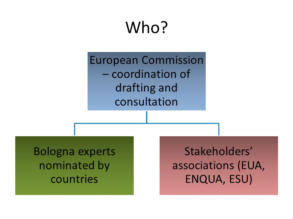 Who? European Commission – coordination of drafting and consultation Bologna experts nominated by countries Stakeholders' associations (EUA, ENQUA, ES