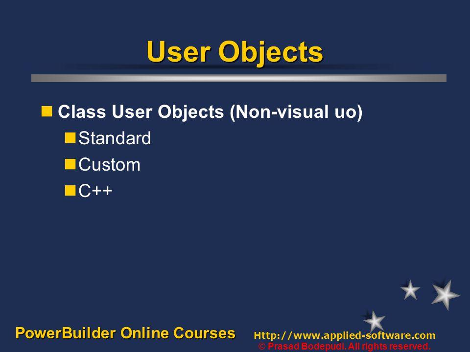PowerBuilder Online Courses - by Prasad Bodepudi User Objects  Visual User Objects Class User Objects (Non-visual User Objects)
