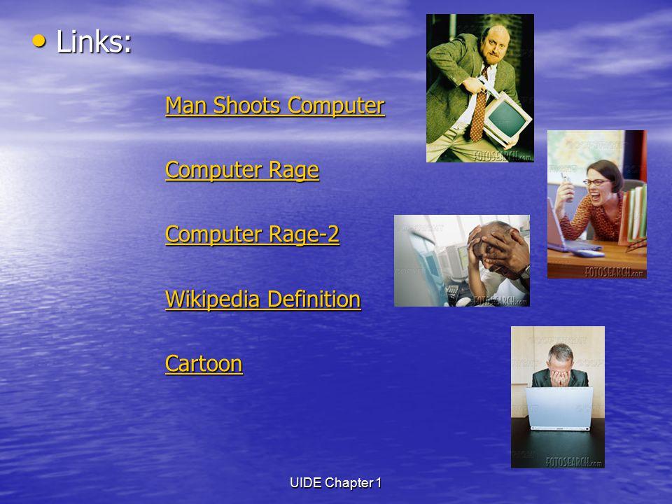 UIDE Chapter 1 Links: Links: Man Shoots Computer Man Shoots Computer Rage Computer Rage Computer Rage-2 Computer Rage-2 Wikipedia Definition Wikipedia Definition Cartoon