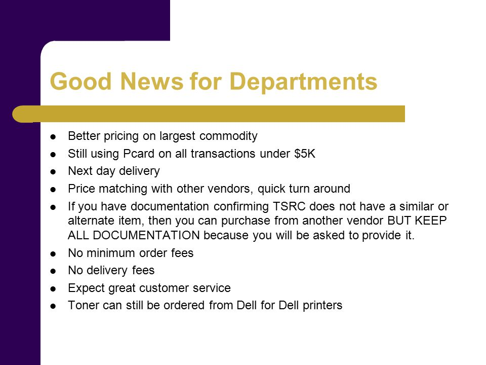What Can Departments NOT Do.Point of sale to Staples, Walmart, etc.