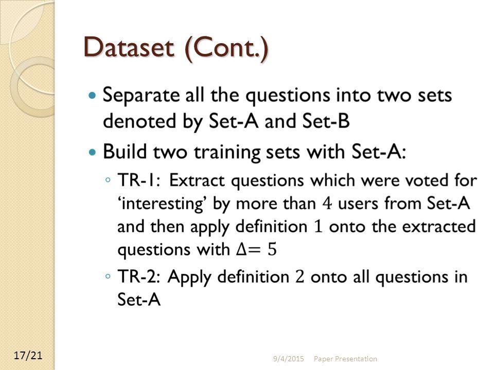 Dataset (Cont.) 9/4/2015 Paper Presentation 17/21
