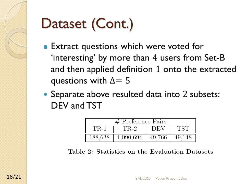 Dataset (Cont.) 9/4/2015 Paper Presentation 18/21
