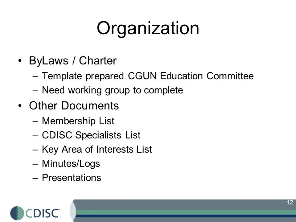 12 Organization ByLaws / Charter –Template prepared CGUN Education Committee –Need working group to complete Other Documents –Membership List –CDISC Specialists List –Key Area of Interests List –Minutes/Logs –Presentations