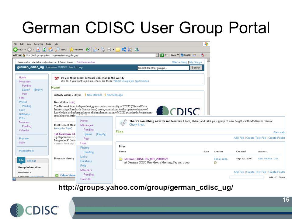 15 German CDISC User Group Portal http://groups.yahoo.com/group/german_cdisc_ug/