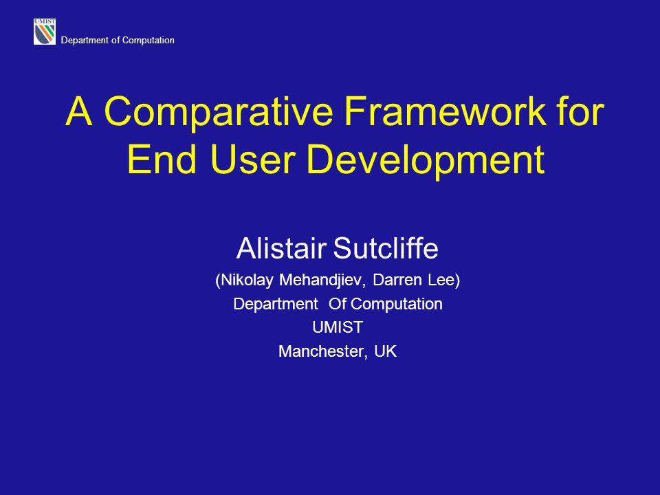 Department of Computation A Comparative Framework for End User Development Alistair Sutcliffe (Nikolay Mehandjiev, Darren Lee) Department Of Computati