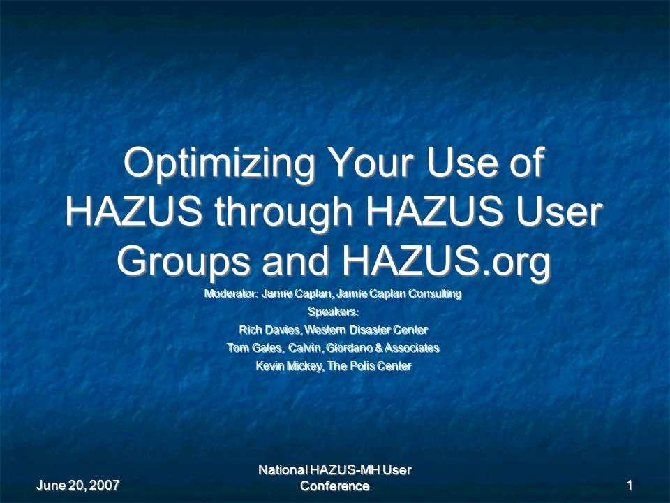 Key Accomplishments HAZUS Project Documentation Guidelines (metadata with a HAZUS-MH focus) Goal is help users increase the credibility of their work with HAZUS-MH by creating proper documentation.