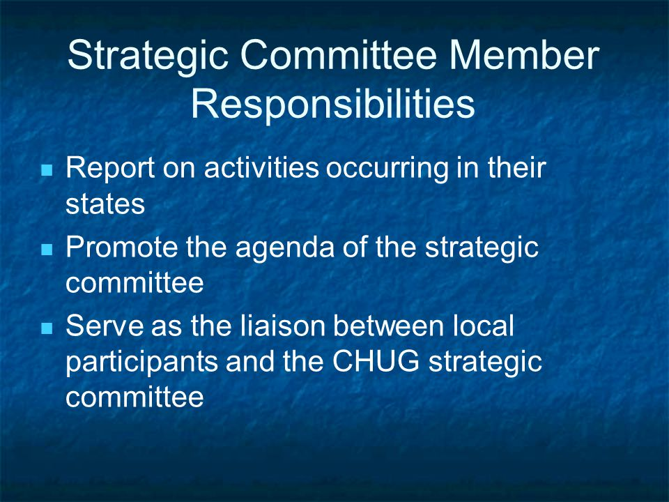 Strategic Committee Member Responsibilities Report on activities occurring in their states Promote the agenda of the strategic committee Serve as the liaison between local participants and the CHUG strategic committee