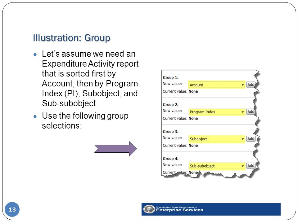 Illustration: Group 13 ● Let's assume we need an Expenditure Activity report that is sorted first by Account, then by Program Index (PI), Subobject, and Sub-subobject ● Use the following group selections: