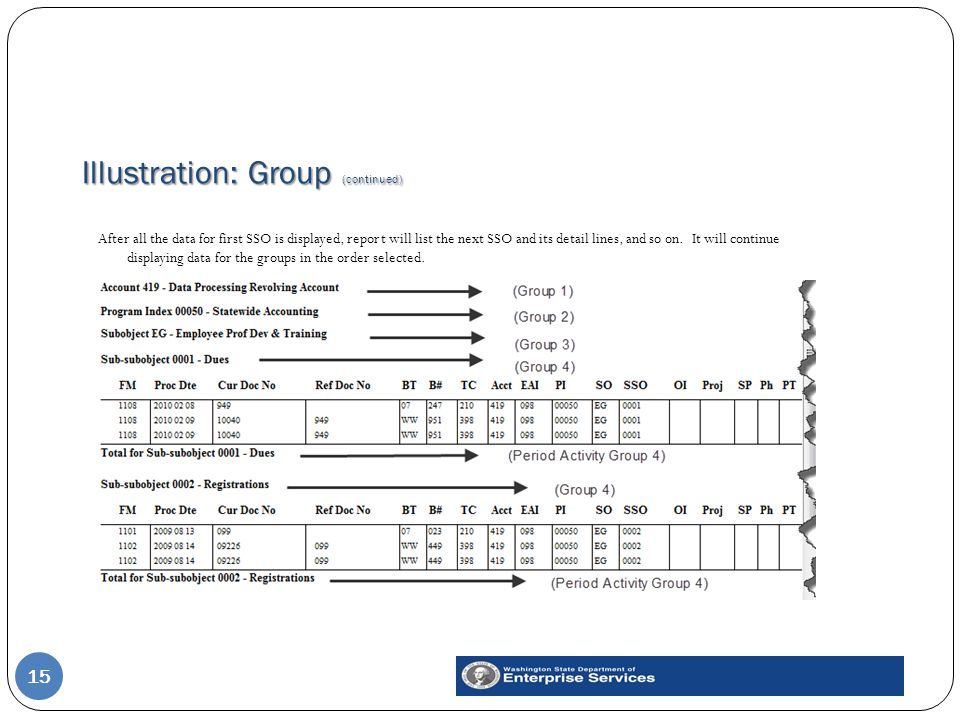 Illustration: Group (continued) 15 After all the data for first SSO is displayed, report will list the next SSO and its detail lines, and so on.