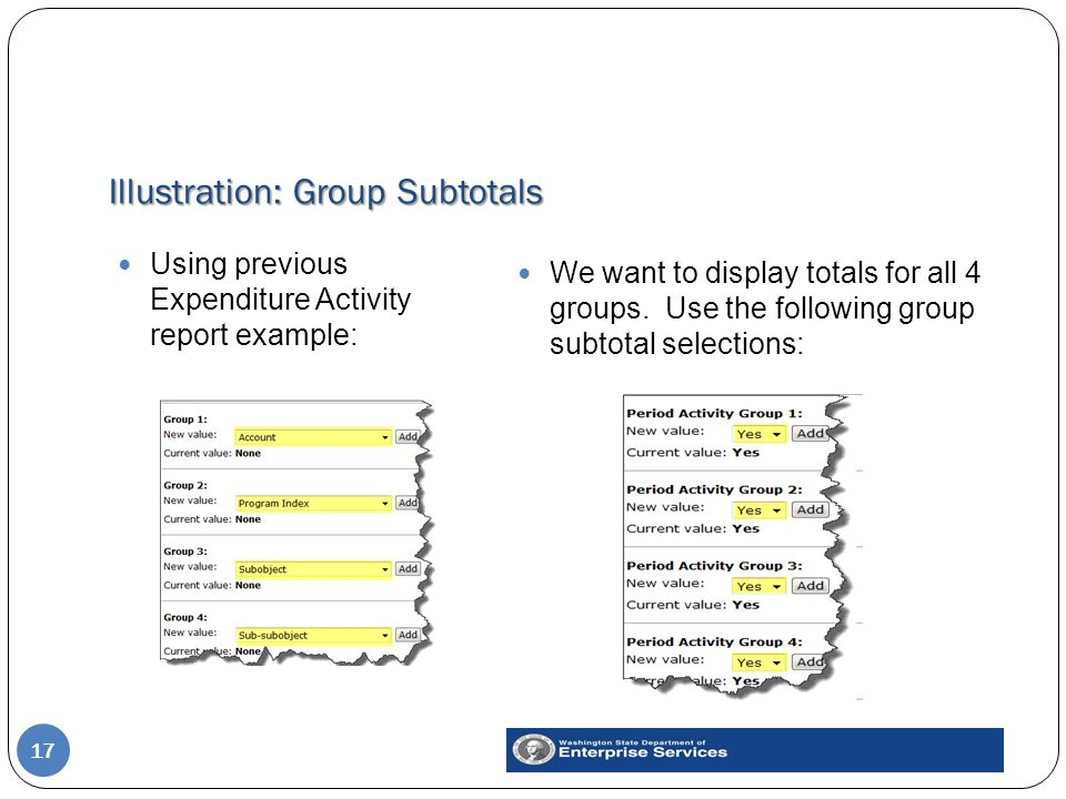 Illustration: Group Subtotals 17 Using previous Expenditure Activity report example: We want to display totals for all 4 groups.