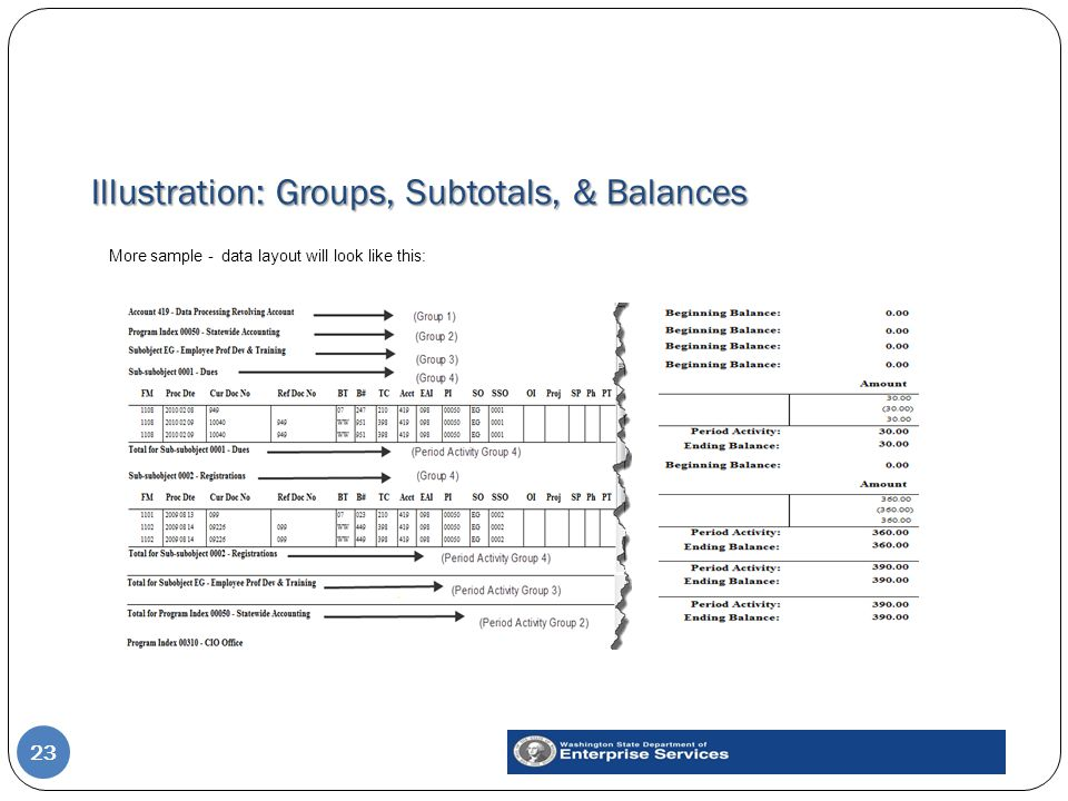 Illustration: Groups, Subtotals, & Balances 23 More sample - data layout will look like this: