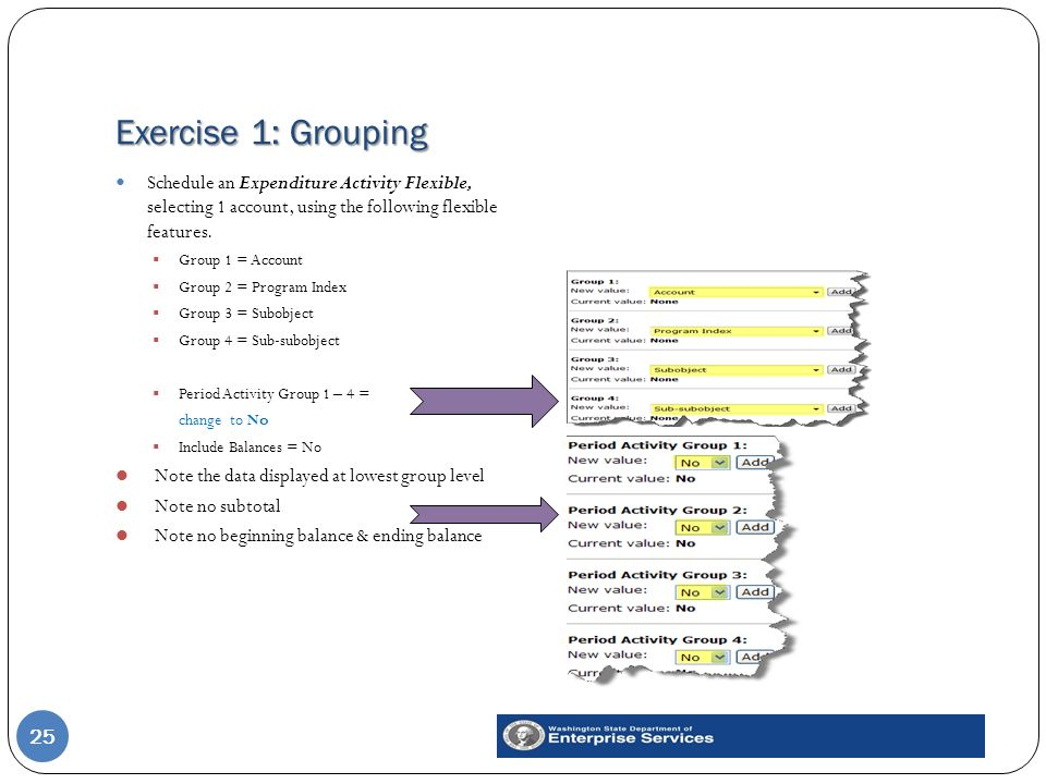 Exercise 1: Grouping 25 Schedule an Expenditure Activity Flexible, selecting 1 account, using the following flexible features.  Group 1 = Account  G