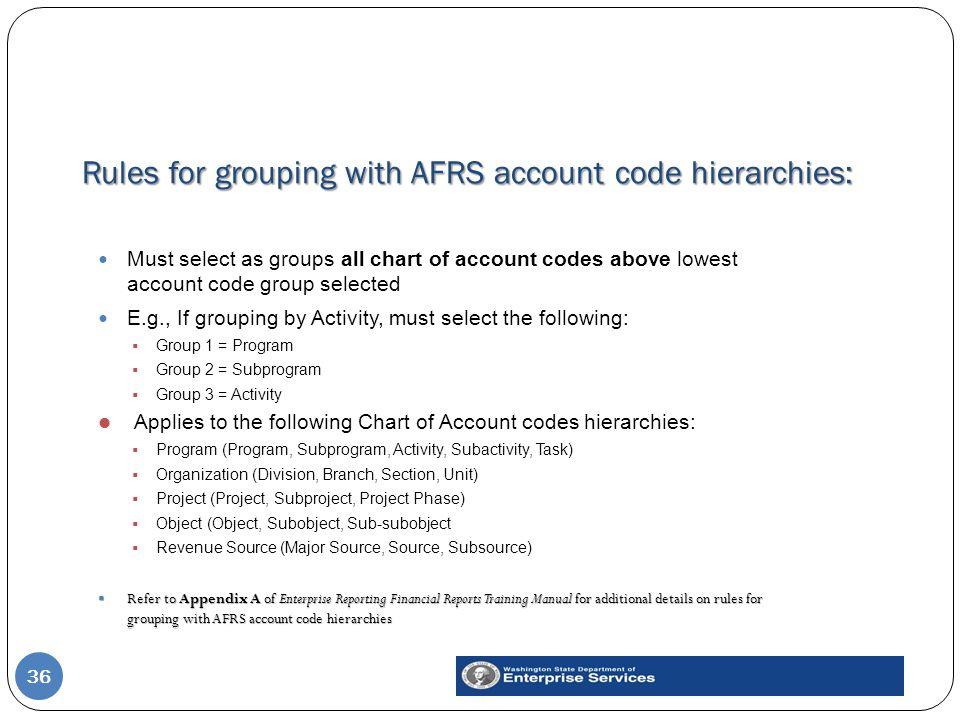 Rules for grouping with AFRS account code hierarchies: 36 Must select as groups all chart of account codes above lowest account code group selected E.g., If grouping by Activity, must select the following:  Group 1 = Program  Group 2 = Subprogram  Group 3 = Activity Applies to the following Chart of Account codes hierarchies:  Program (Program, Subprogram, Activity, Subactivity, Task)  Organization (Division, Branch, Section, Unit)  Project (Project, Subproject, Project Phase)  Object (Object, Subobject, Sub-subobject  Revenue Source (Major Source, Source, Subsource)  Refer to Appendix A of Enterprise Reporting Financial Reports Training Manual for additional details on rules for grouping with AFRS account code hierarchies