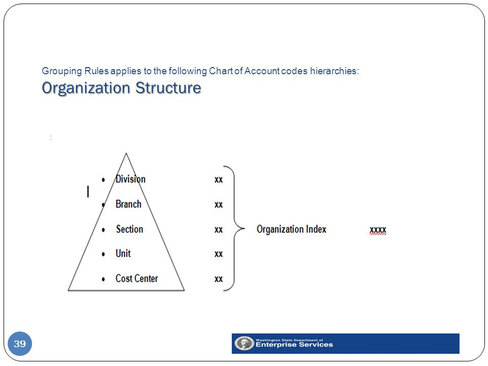 Organization Structure Grouping Rules applies to the following Chart of Account codes hierarchies: Organization Structure 39 :