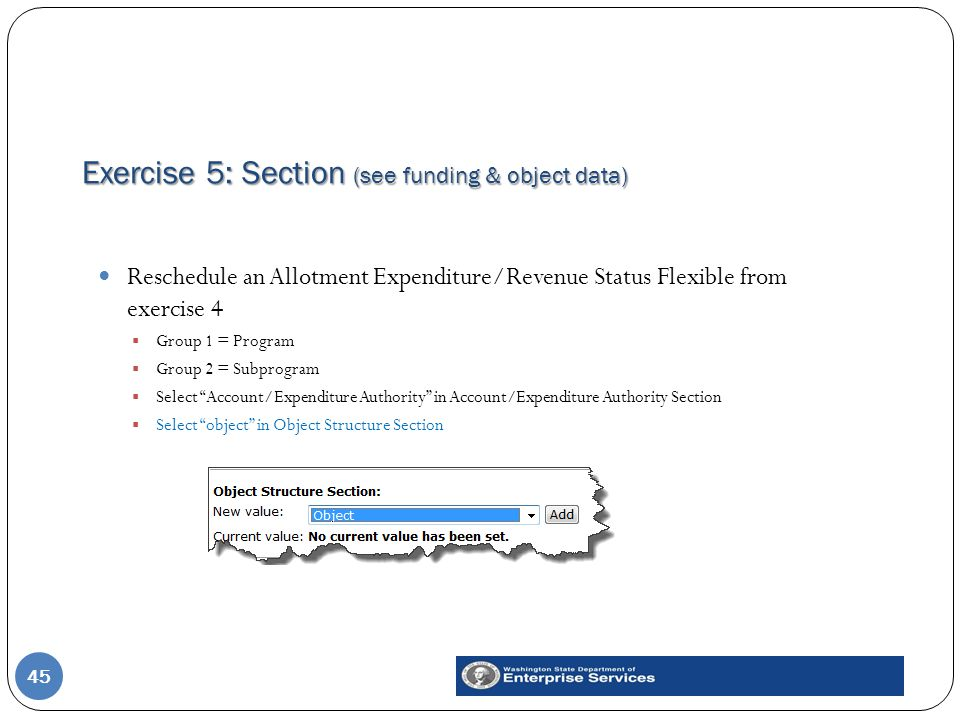 Exercise 5: Section (see funding & object data) 45 Reschedule an Allotment Expenditure/Revenue Status Flexible from exercise 4  Group 1 = Program  G