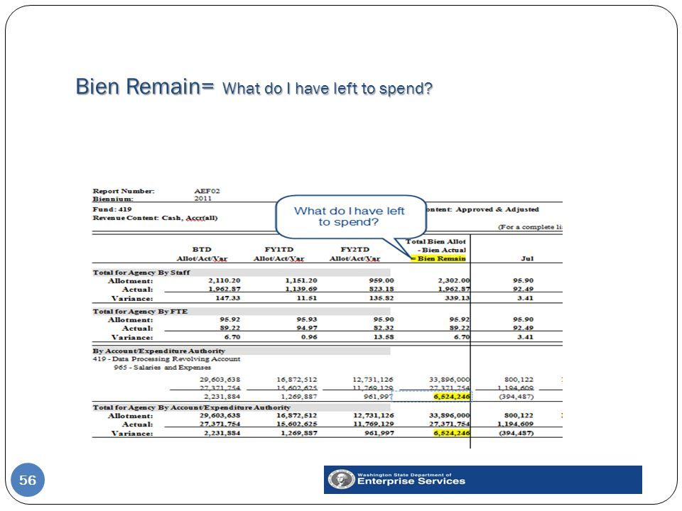 Bien Remain= What do I have left to spend 56