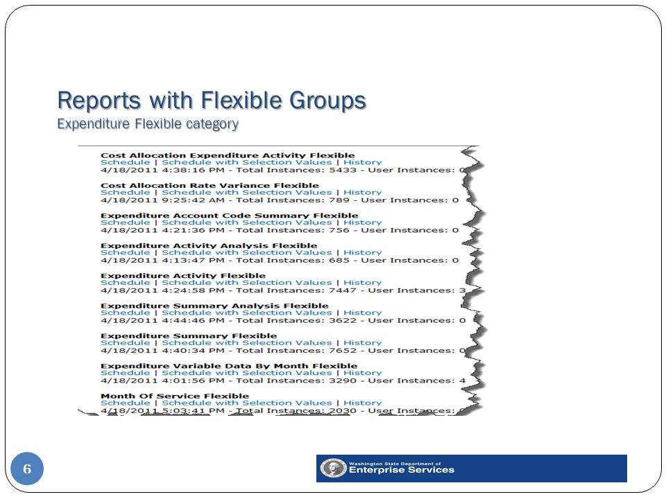 Reports with Flexible Groups Expenditure Flexible category 6